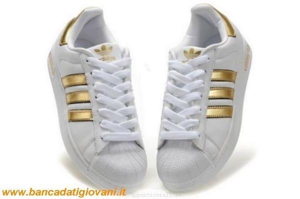 adidas superstar bianco e oro